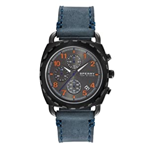 Sperry Top-Sider Men's Chronograph Mariner Navy Blue Leather Strap 40mm 102033 by Sperry