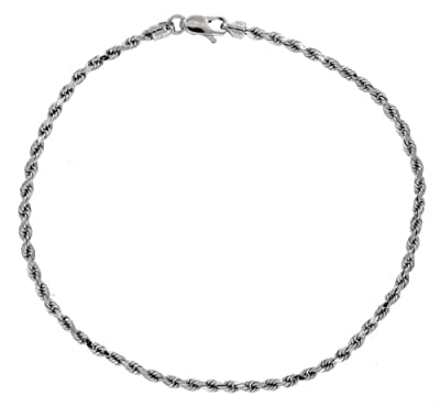 Carissima 9ct White Gold Hollow Diamond Cut Rope Bracelet