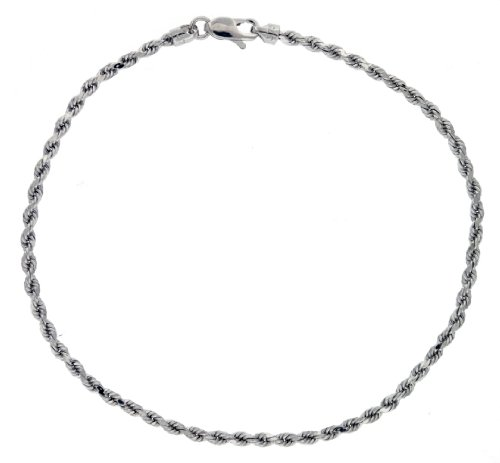 9ct White Gold Semi Hollow Diamond Cut Rope Bracelet 18cm/7
