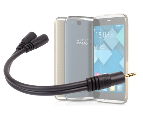 Duragadget 3.5Mm Gold-Plated Headphones Split Adapter With Two Headphone Ports For Alcatel One Touch Idol 2 Mini, Mini S