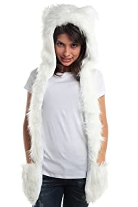 Fur Animal Hat Hood Polar Bear with Mittens Unisex Winter Ski Gloves Scarf with Paws