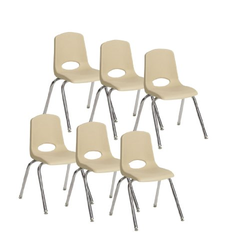 Ecr4kids School Stack Chair With Chrome Legs And Nylon Swivel Glides 16 Sand 6 Pack Mateus Castroboop