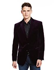 Autograph Pure Cotton 2 Button Velvet Jacket