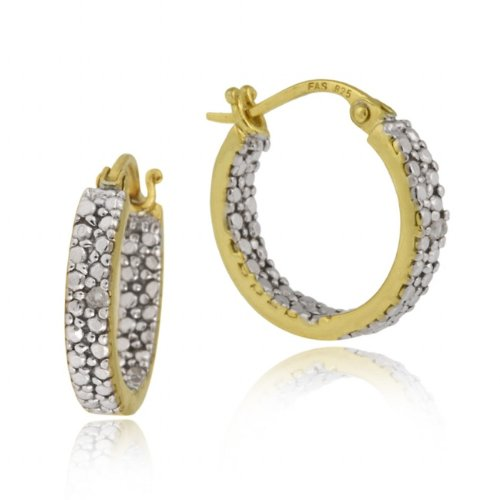 18K Gold over Sterling Silver Diamond Accent Inside Out 16mm Hoop Earrings