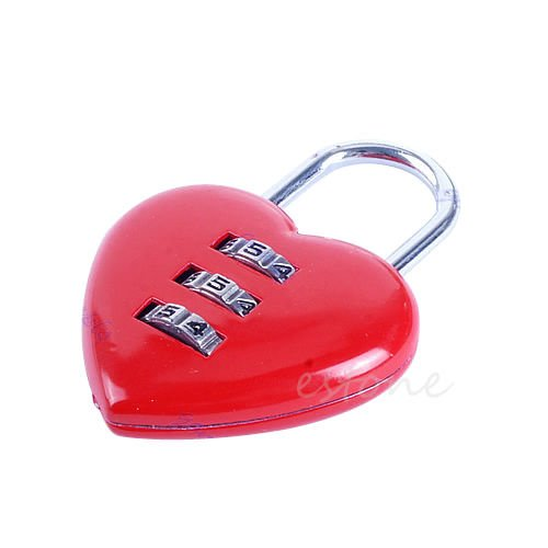 Mini Cute 3 Digits Luggage Suitcase Padlock Red Heart Shaped Coded Lock (Rolling Garment Bag Samsonite compare prices)