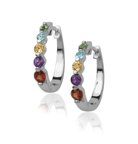 Platinum Plated Sterling Silver Multi-Gemstone Hoop Earrings
