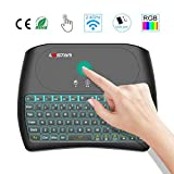 Mini Wireless Touchpad with Keyboard- 2.4Ghz Gaming Keyboard Air Mouse USB Handheld Rechargeable Multimedia Remote Control 7 Colors Keyboard Compatible with PC/Google Android TV Box and More (Color: Black)