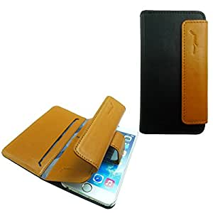 Handcrafted iPhone 6 (4.7in) Premium Lux Wallet Case Pochette by Gosh - Black / Tan