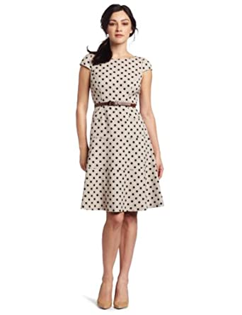 Anne Klein Women's Natural Dotted Swing Dress, Navy Combo, 4