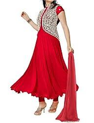 FastColors Women's Georgette Long Anarkali Unstitched Salwar Suit Dress Material(pankhudi_FC_Red)