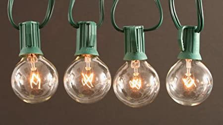 Clear Globe String Lights Set of 25 G40 Bulbs Indoor / Outdoor- Green Wire