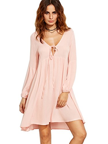 SheIn Women's Lantern Sleeve V Neck Tie-front Shift Tunic Dress Small Pink