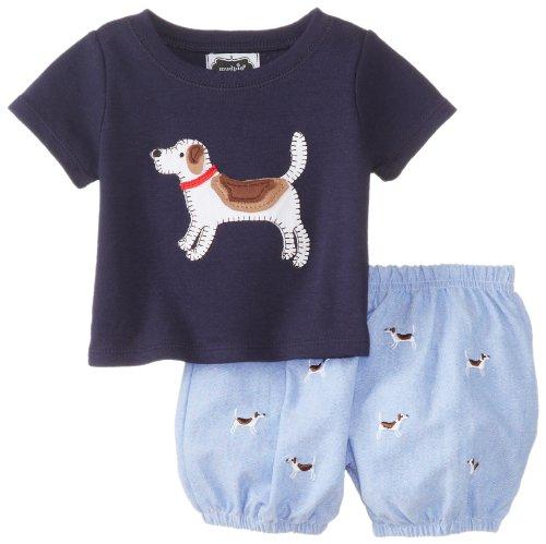 Mud Pie Baby-Boys Newborn Puppy Diaper Cover Set, Blue, 6-9 Months front-1072789
