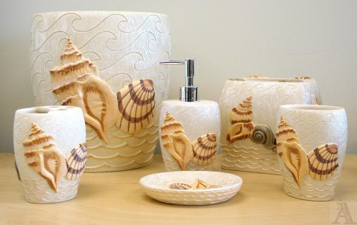 The sunny sunflower house sea shell theme bathroom for Seashell bathroom accessories