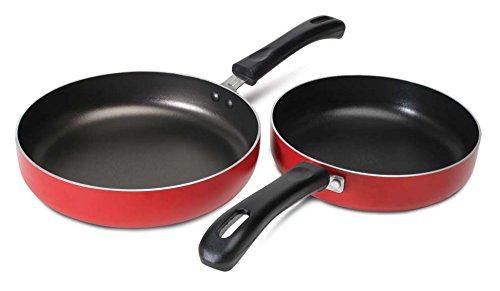Nirlep Fry Pan, Aluminium, Red, 2 Piece Set