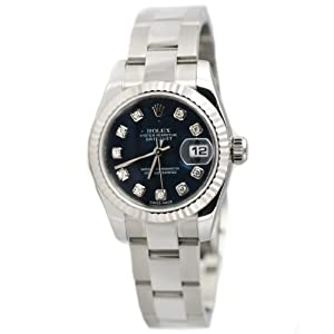 Rolex Womens Diamond Datejust Stainless Steel Watch 179174