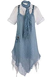 Women's Sky Blue Linen 3-Piece Tunic Dress Set