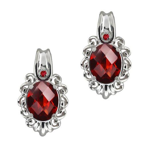 Checkerboard Red Garnet Gemstone Sterling Silver Earrings Jewelry