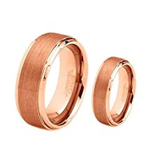 buy His & Her'S 8Mm/6Mm Tungsten Carbide Rose Gold Plated Brushed Center Wedding Band Ring Set