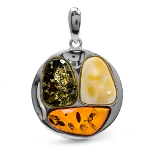 Multicolor Amber and Sterling Silver Large Free-shaped Pendant One of a Kind