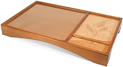 Artigianato Bernardelli - Vassoio porta tè in legno con intarsi in sughero