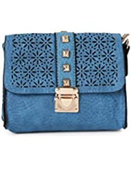 ToniQ Blue Floral Cut-Work Studded Sling Bag Girls,Women(Blue)