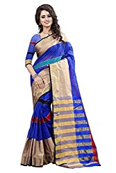Fabcart Blue Net Saree with Blouse Piece