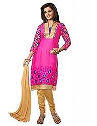 Pink Cotton Resham With Patch Patti Dress Material - B00U2GHZPU