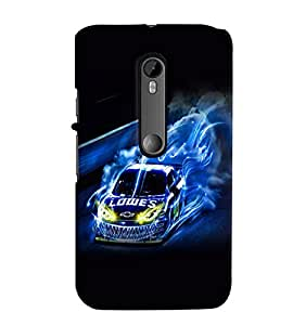 Fuson Premium Racing Car Printed Hard Plastic Back Case Cover for Motorola Moto G (3rd Gen)