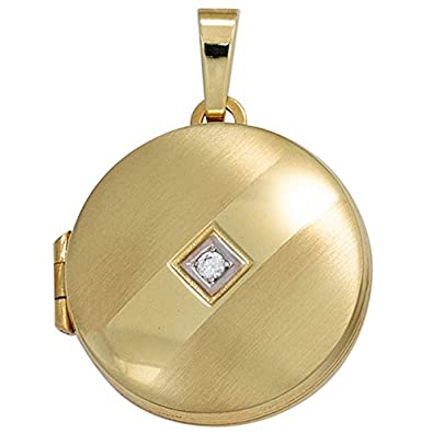 Round Pendant Medallion from 333 Gold Locket To Open White Zircons Regenbogen