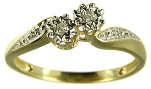 9ct Yellow Gold Ladies' 2-Stone Diamond Twist Ring Size M