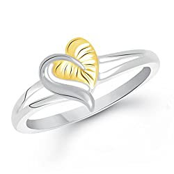 V. K. Jewels Leaf Heart Gold And Rhodium Plated Alloy Ring For Women & Girls - Fr2069G Size 8 [Vkfr2069G8]