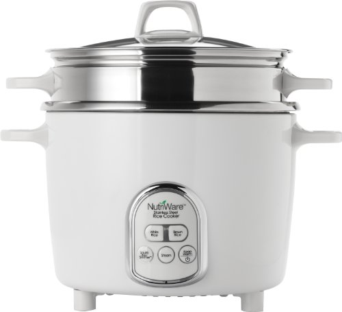 Aroma Housewares NutriWare 14-Cup (Cooked) Digital Rice Cooker and Food Steamer, White (Rice Cooker Aroma Pot compare prices)