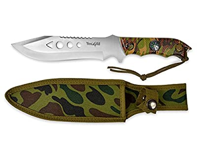 Yes4All MH-H150 Tactical Hunting Survival Fixed Blade Knife +Nylon Sheath w/ intergrated compass - ²H7I8Z by Yes4All