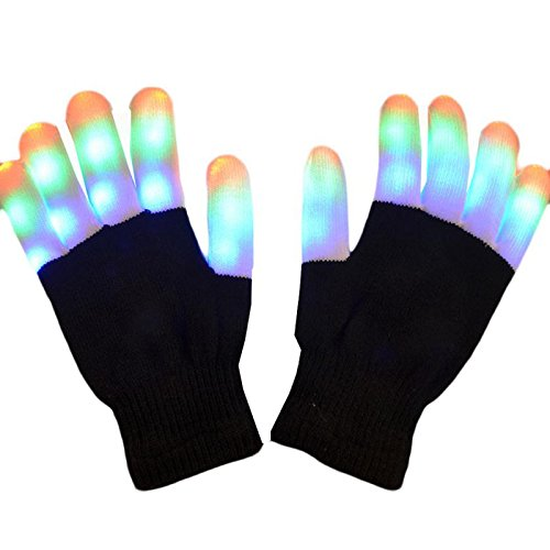Sminiker Flashing LED Finger Lighting Gloves with Colorful Rave Gloves 7 Colors Light Show, Best Idea Gift, Black and White