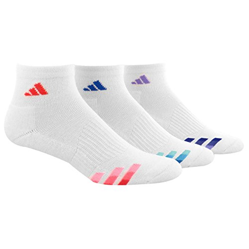 Adidas Womens Cushioned 3-Pack Quarter Sock, White/Shock Red/Shock Blue/Light Flash Purple, One Size