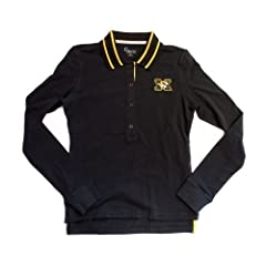 NCAA Licensed Missouri Mizzou Tigers Black Long Sleeve Ladies Polo Shirt by Touch Alyssa Milano