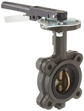 Milwaukee Valve CL223E Series Cast Iron Butterfly Valve, Lug Style, Aluminum/Bronze Disc, EPDM Seat, Lever Handle, Flanged