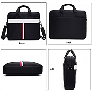 ZYSTERT 14 -15.6 Inch Laptop Bag Shoulder Bag With Strap Multi-Compartment Messenger Hand Bag Briefcase for Laptop / iPad Pro / Tablet / Macbook / Ultrabook / Men / Women (15.6 Inches, Black (02)) by ZYSTERT