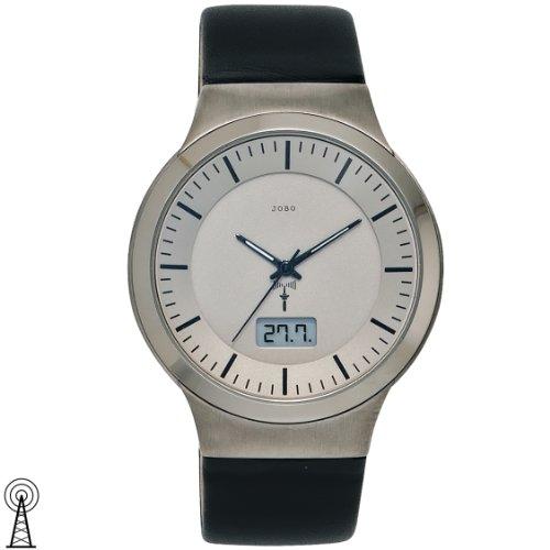 JOBO Herren-Funk-Armbanduhr Titan Lederband Mineralglas Funkuhr Datumsanzeige