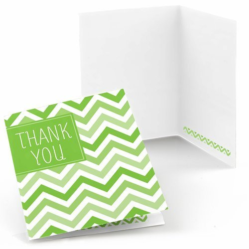 Chevron Green Thank You Cards (8 count) - 1