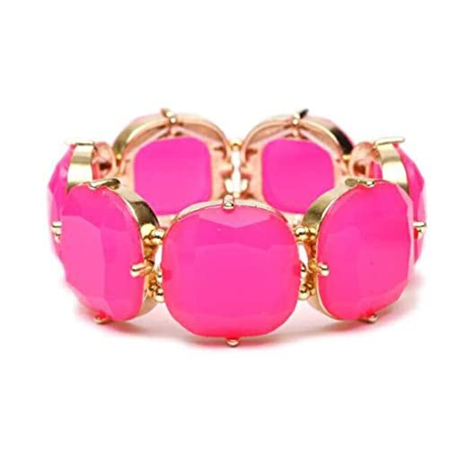 Heirloom Finds Cushion Cut Hot Pink Fuchsia Resin Stretch Cuff Bracelet Gold Tone
