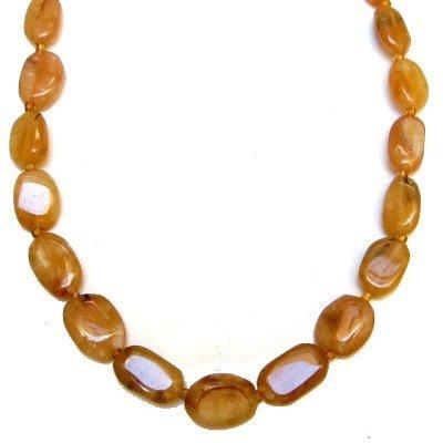Aventurine Necklace 03 Beaded Orange Oval Crystal Healing Stone 17