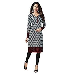 Stylish Girls Women Cotton Printed Unstitched Kurti Fabric (SG_K122_Grey_Free Size)
