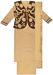 Classic Women's Cotton Unstitched Dress Material (Brown)