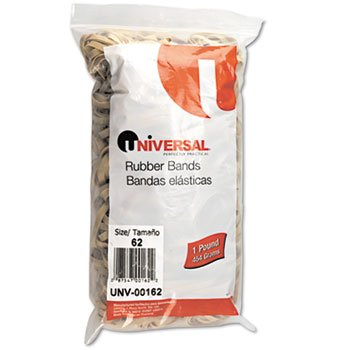 Rubber Bands, Size 62, 2-1/2 x 1/4, 490 Bands/1lb Pack