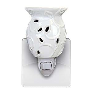 Decorative Ceramic Wall Plug-in Tart/Wax Candle Warmer (White Ivy)