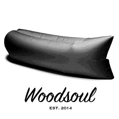 Woodsoul® INSTAFLATE Hangout Sitzkissen Liegematte Schlafsack Luftkissen - Farbe: Schwarz