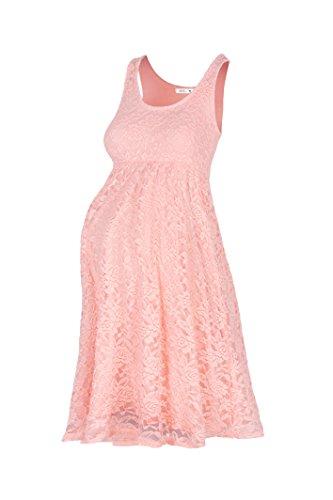 Beachcoco Women's Maternity Knee Length Sleeveless Lace Dress (M, Peach Pink)