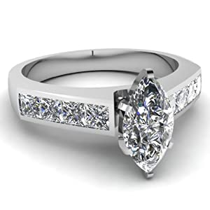 1.30 Ct Marquise Cut & Princess Diamond Engagement Ring Channel Set VS1 GIA 14K